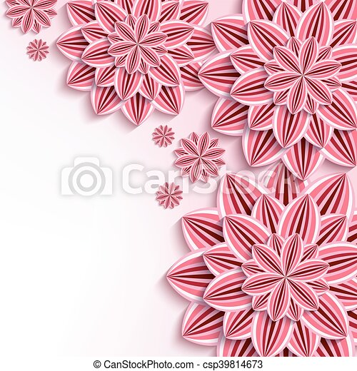 Modern background with pink 3d paper flowers floral elegant modern background with pink 3d paper flowers csp39814673 mightylinksfo
