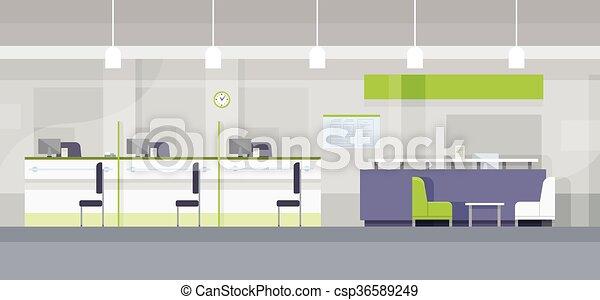 Modern Bank Office Interior Workplace Desk Flat Design   Csp36589249