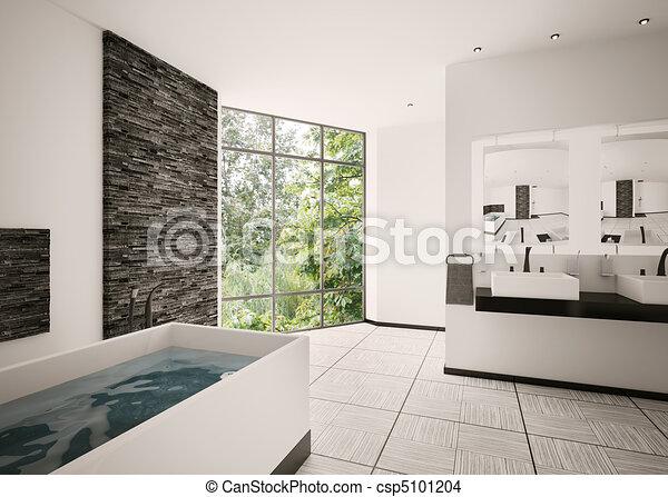 Line Art Bathroom Furniture : Modern bathroom interior d render of drawing