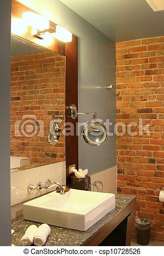 Modern Bathroom With Brick Wall   Csp10728526
