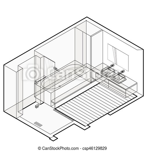 Modern Bathroom With Wooden Floor Isometric Perspective Outlined Shower Enclosure