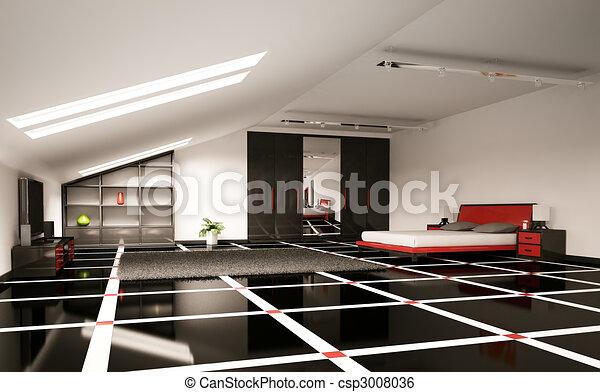 modern bedroom interior 3d render csp3008036