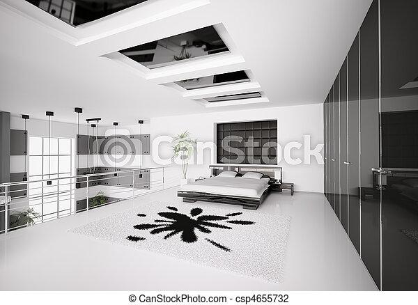 Modern bedroom interior 3d - csp4655732