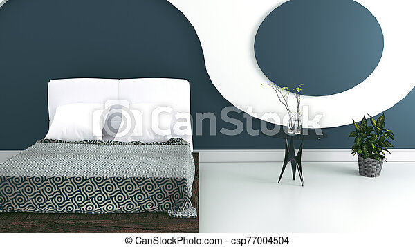 Modern bedroom interior design. 3d Rendering - csp77004504