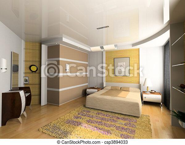 Modern bedroom interior design puter generated image