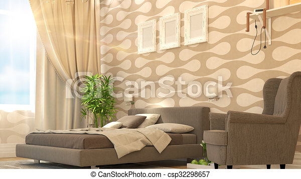 modern bedroom interior csp32298657