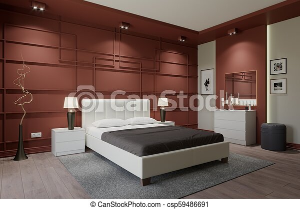 Modern bedroom with a brown wall Simple 3D Bedroom Design