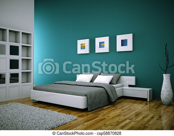 modern bedroom with green wall and modern decor - csp58870828