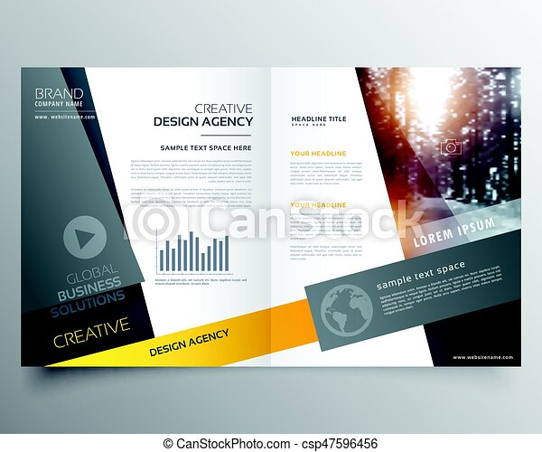 Modern Bifold Brochure Design Template Or Magazine Cover Page Design