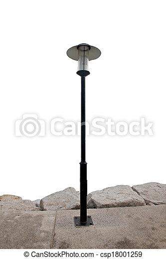 Modern Black Lantern in the park. - csp18001259