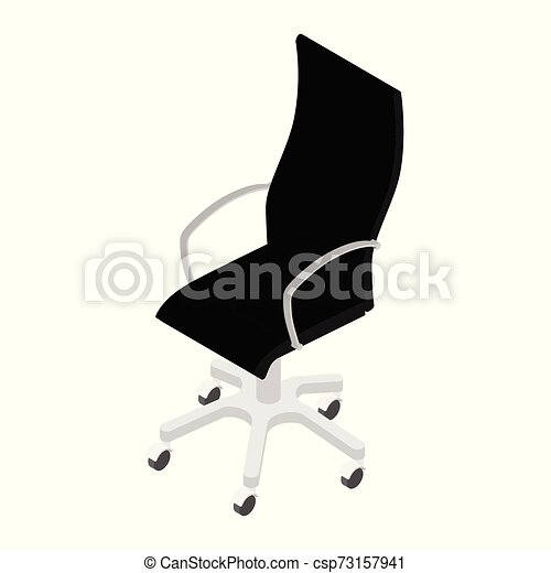 Modern black office chair isolated on white background isometric view . Office furniture - csp73157941