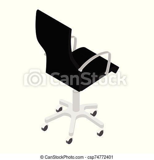 Modern black office chair isolated on white background isometric view . Office furniture - csp74772401