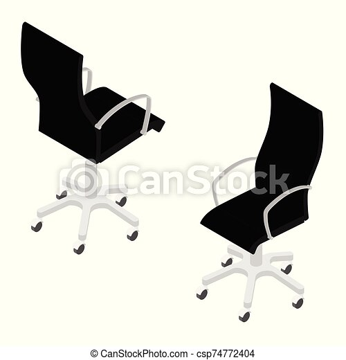 Modern black office chair isolated on white background isometric view . Office furniture - csp74772404