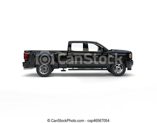 Modern Black Pickup Truck Side View