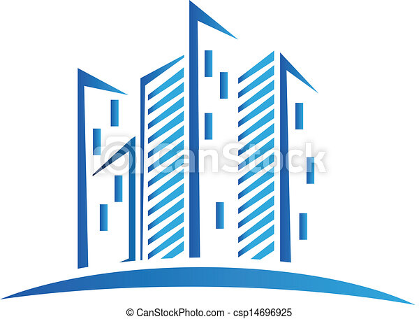 Modern blue buildings logo - csp14696925