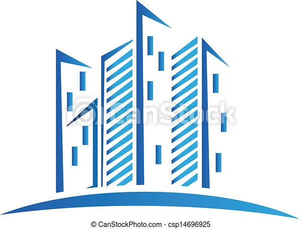 Modern blue buildings logo - csp14696925