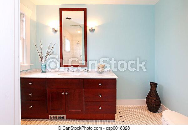 Modern blue fresh new bathroom - csp6018328