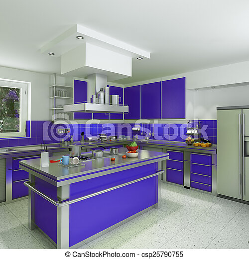 Modern Blue Kitchen 3d Rendering Of A Modern Spacious Kitchen In Blue And Chrome Canstock