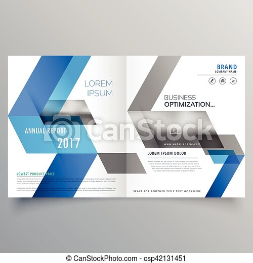 Modern booklet cover page design template with abstract blue ...