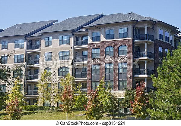 Modern Brick And Stucco Apartment Building   Csp8151224