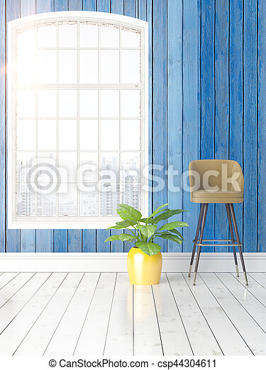 Modern bright interior with large window . 3D rendering - csp44304611
