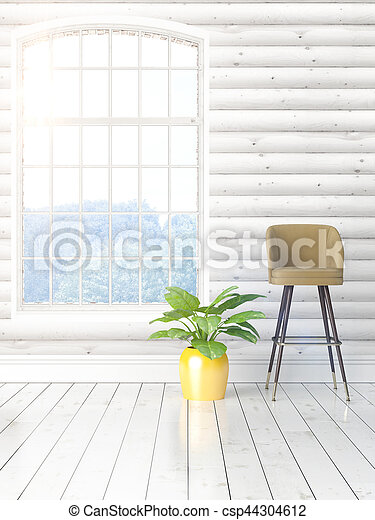 Modern bright interior with large window . 3D rendering - csp44304612
