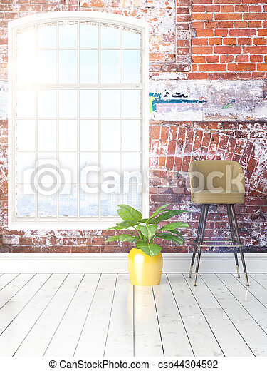 Modern bright interior with large window . 3D rendering - csp44304592
