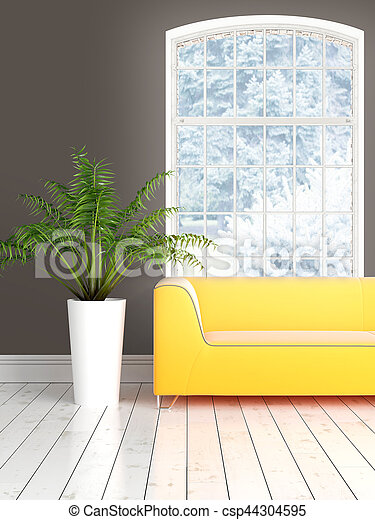 Modern bright interior with large window . 3D rendering - csp44304595