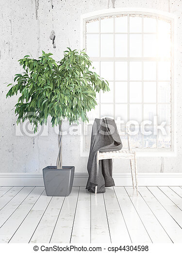 Modern bright interior with large window . 3D rendering - csp44304598