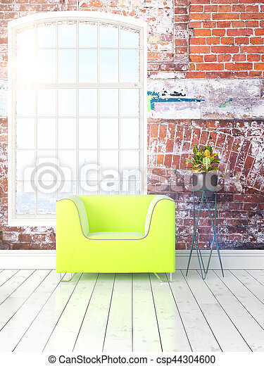 Modern bright interior with large window . 3D rendering - csp44304600