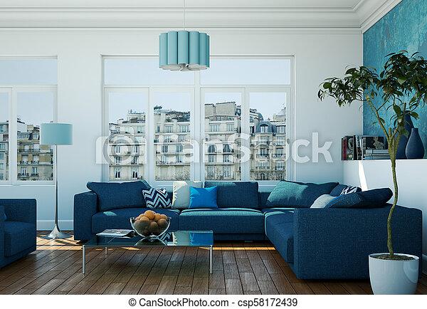 Modern Bright Living Room Interior Design With Blue Sofas 3d Illustration Canstock