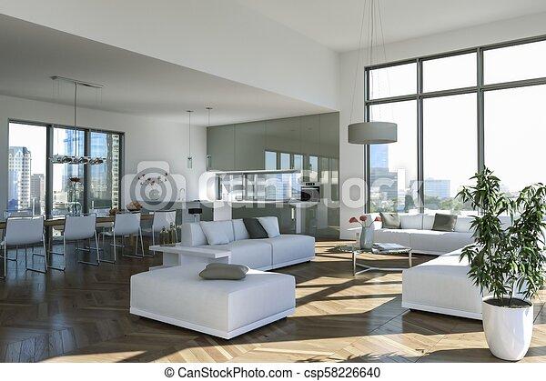 Modern bright loft with big Windows interior design - csp58226640 & Modern bright loft with big windows interior design 3d illustration.