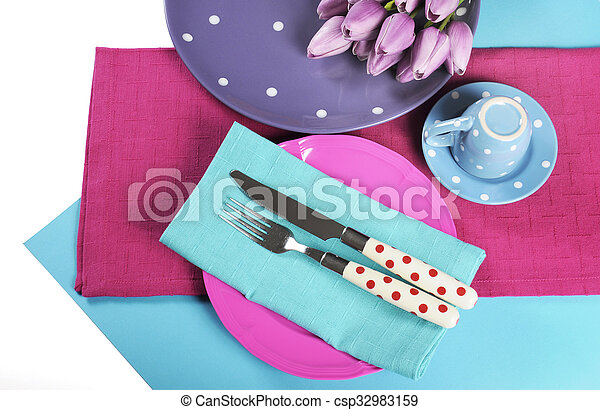 Modern bright Sixties mod style color blocking design for table place setting in aqua blue, pink and purple. - csp32983159