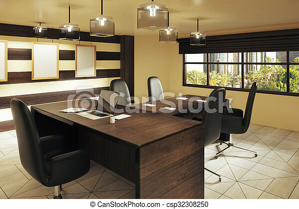 Modern brown style office with furniture and street view