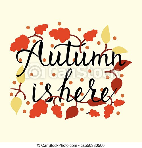 Modern brush phrase autumn is here. background with the ...