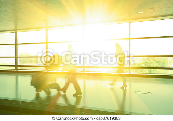 Modern building aisle interior glass wall of windows in... stock ...