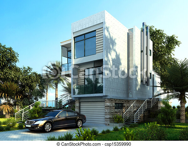 Modern building exterior with garden and trees. - csp15359990