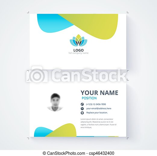 Modern business card template blue and green card vector clipart vector modern business card template blue and green card background csp46432400 reheart Gallery