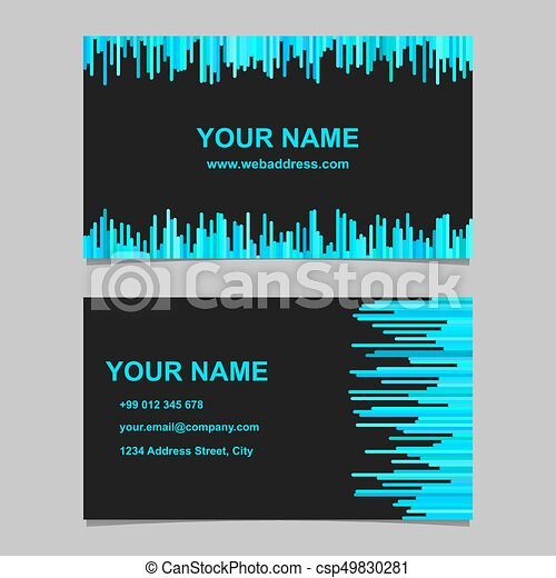 Modern Business Card Template Set Vector Name Graphic With Stripes