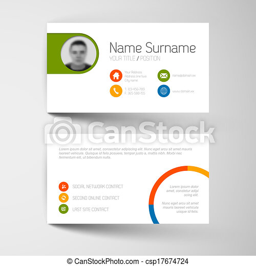 Modern business card template with flat user interface vector modern business card template with flat user interface csp17674724 colourmoves Images