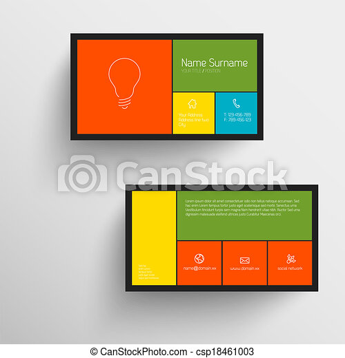 Modern Business Card Template With Flat Mobile User Interface