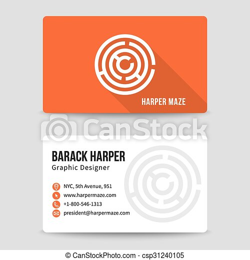 Modern Business Card Vector Template With Maze Logo Address And