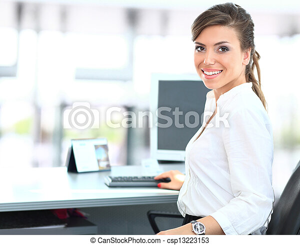 Modern business woman in the office - csp13223153
