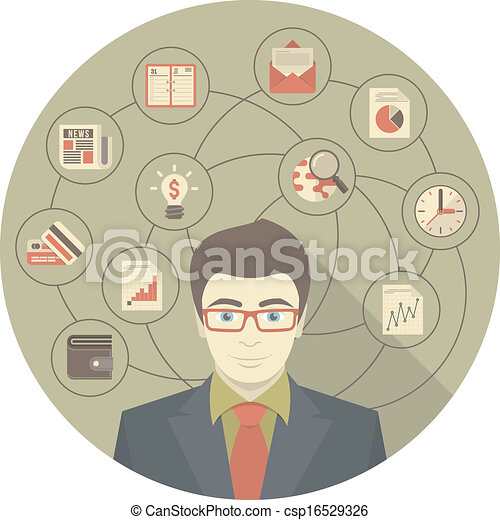 Modern Businessman Concept Gray  - csp16529326