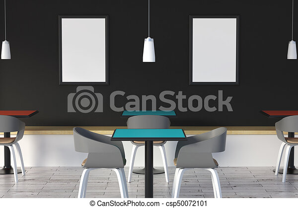 Modern cafe with poster modern cafe interior with tables chairs