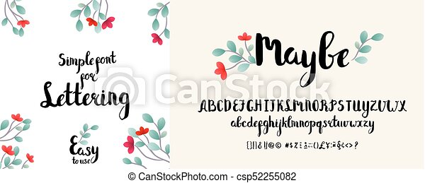 Modern Calligraphy Alphabet Handwritten Brush Letters Hand Lettering Font For Your Design Wedding