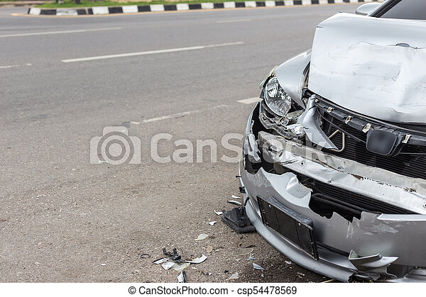 Modern car accident involving two cars on the road - csp54478569