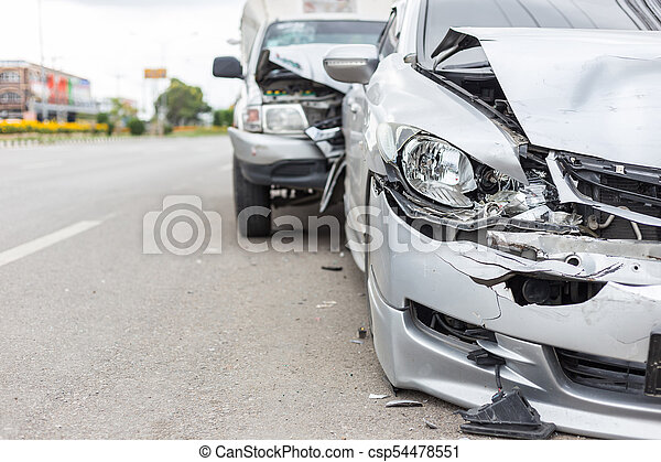 Modern car accident involving two cars on the road - csp54478551
