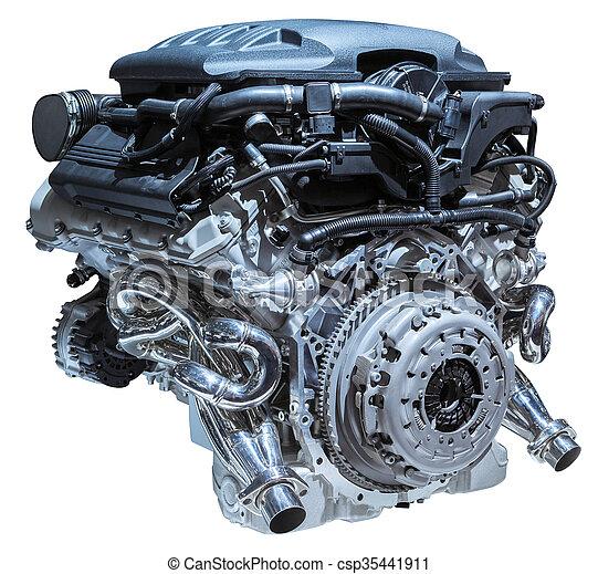modern car engine isolated on white background - csp35441911
