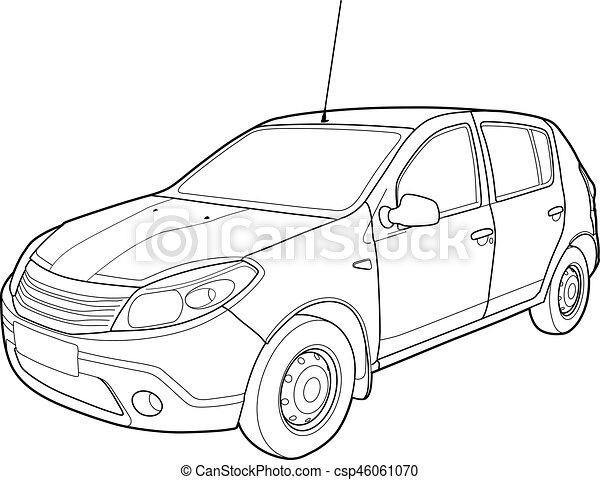 Modern car technical draw. Hand drawn sketch of a modern car vector.